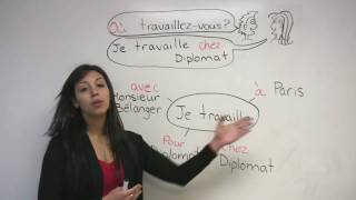 """In this French lesson, Rita demonstrates how to ask and state where you work  in which company, department, city and more. The French verb """"travailler"""" -- to work -- is reviewed."""
