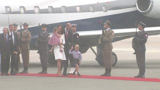 The Duke and Duchess of Cambridge have travelled to Warsaw, Poland with their family as part of a five-day-tour of Poland and Germany.