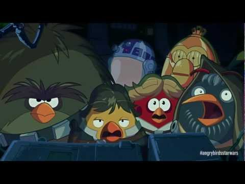"Image of Angry Birds Star Wars Original Trailer showing the ""death pig star"" - [Angry Birds Star Wars Promo Video]"