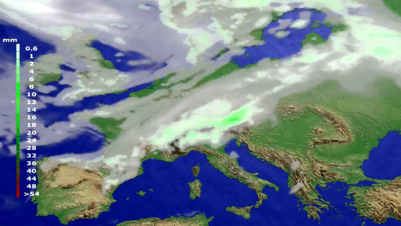 Precipitation forecast Europe 2016-07-09