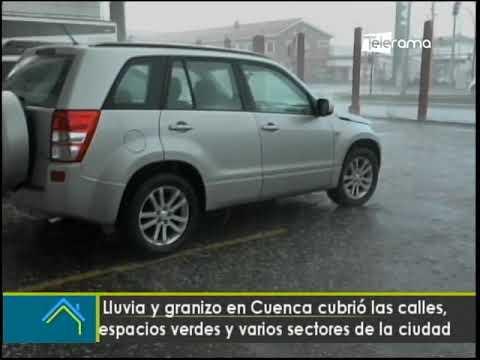 Lluvia y granizo en Cuenca cubrió las calles, espacios verdes y varios sectores de la ciudad