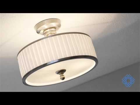 Video for Candice Brushed Nickel Three-Light Semi Flush Fixture w/Pleated White Shade