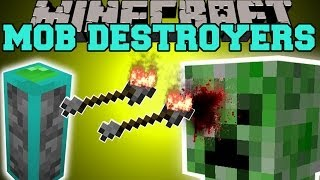 Minecraft: MOB DESTROYERS (THE ULTIMATE DEFENSE SYSTEM!) Mod Showcase