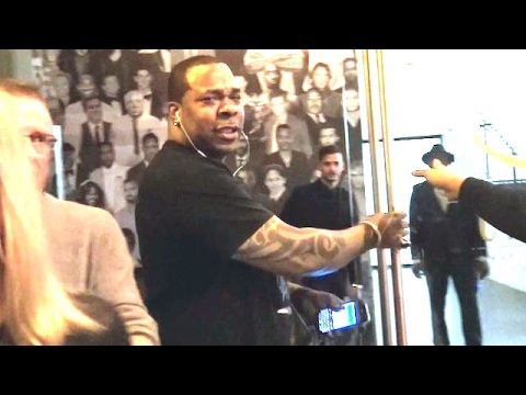 Busta Rhymes Surprised By The Flashbulbs At Catch