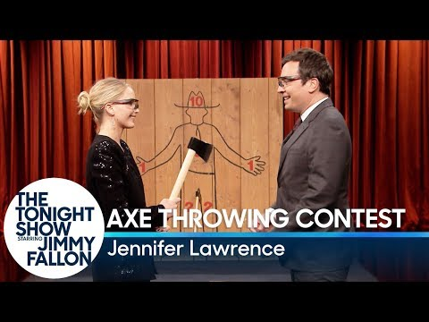 Jennifer Lawrence Challenges Jimmy to Axe Throwing Contest