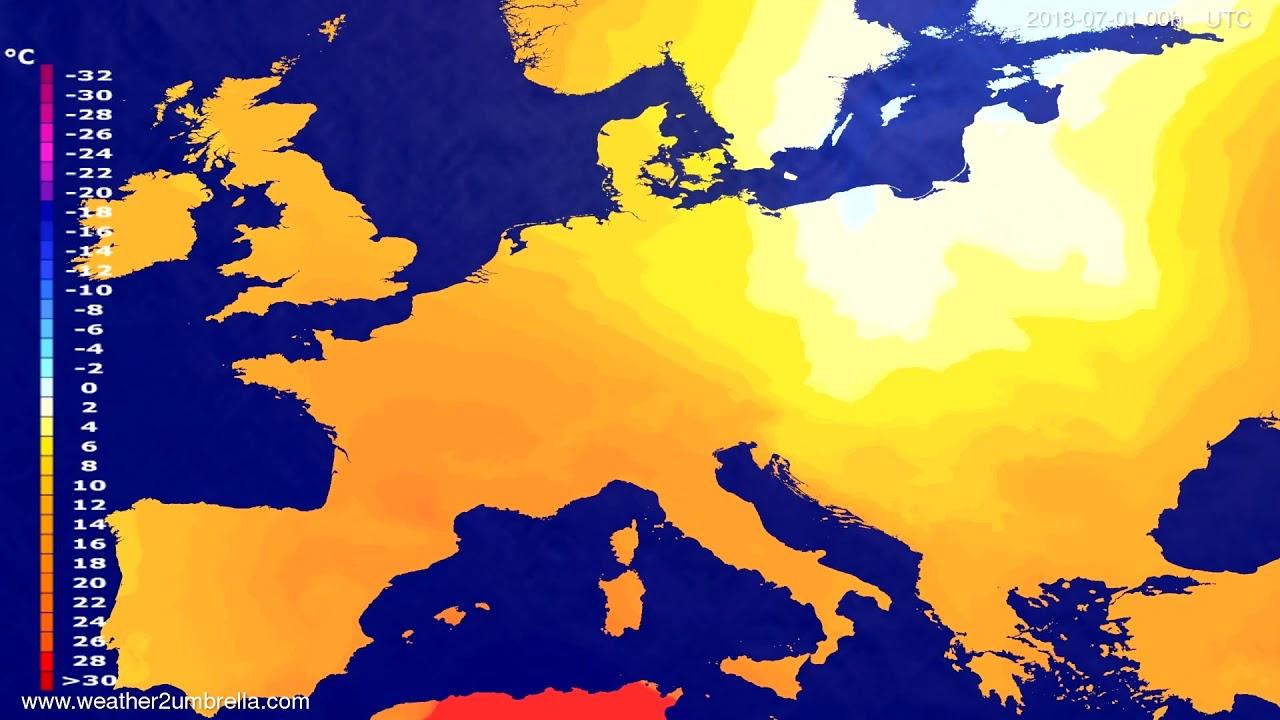 Temperature forecast Europe 2018-06-28