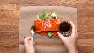 TOMATO PESTO SALMON Servings: 1 INGREDIENTS Parchment paper or aluminum foil, 12x18 inches 3 ounces green beans ...