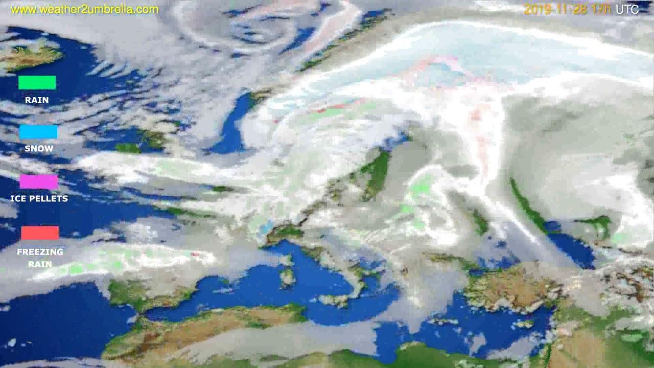 Precipitation forecast Europe // modelrun: 12h UTC 2019-11-27