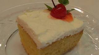 The best Tres Leches Cake recipe, a great, simple and quick Tres Leches Cake recipe to try. This cake is a unique cake that is made with 3 different milks, evaporated milk, condensed milk, and heavy cream. When butter is not used, the tres leches is a very light cake, with many air bubbles. This distinct texture is why it does not have a soggy consistency, despite being soaked in a mixture of three types of milk.