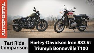 9. Harley-Davidson Iron 883 vs Triumph Bonneville T100 Test Ride Comparison - Autoportal