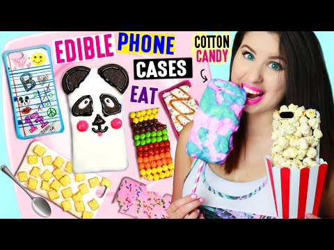 DIY EDIBLE Phone Cases Using Edible Paper, Cereal, Popcorn, Cotton Candy | EAT iPhone Cases! (видео)