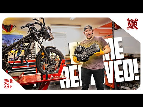 This ENGINE is SO TINY!! CBR 300 Engine removal | 2016 CBR 300R Flat Tracker Build - Day 3