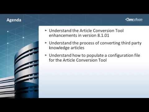 BMC Knowledge Management Article conversion utility