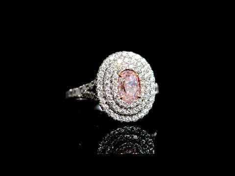 GIA Certified 1.00ct Oval Cut Fancy Purplish Pink Diamond Ring