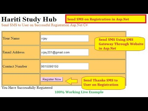 Send SMS to User after Registration Using Asp.Net C# | Hindi | SMS Gateway | Online Classes Free