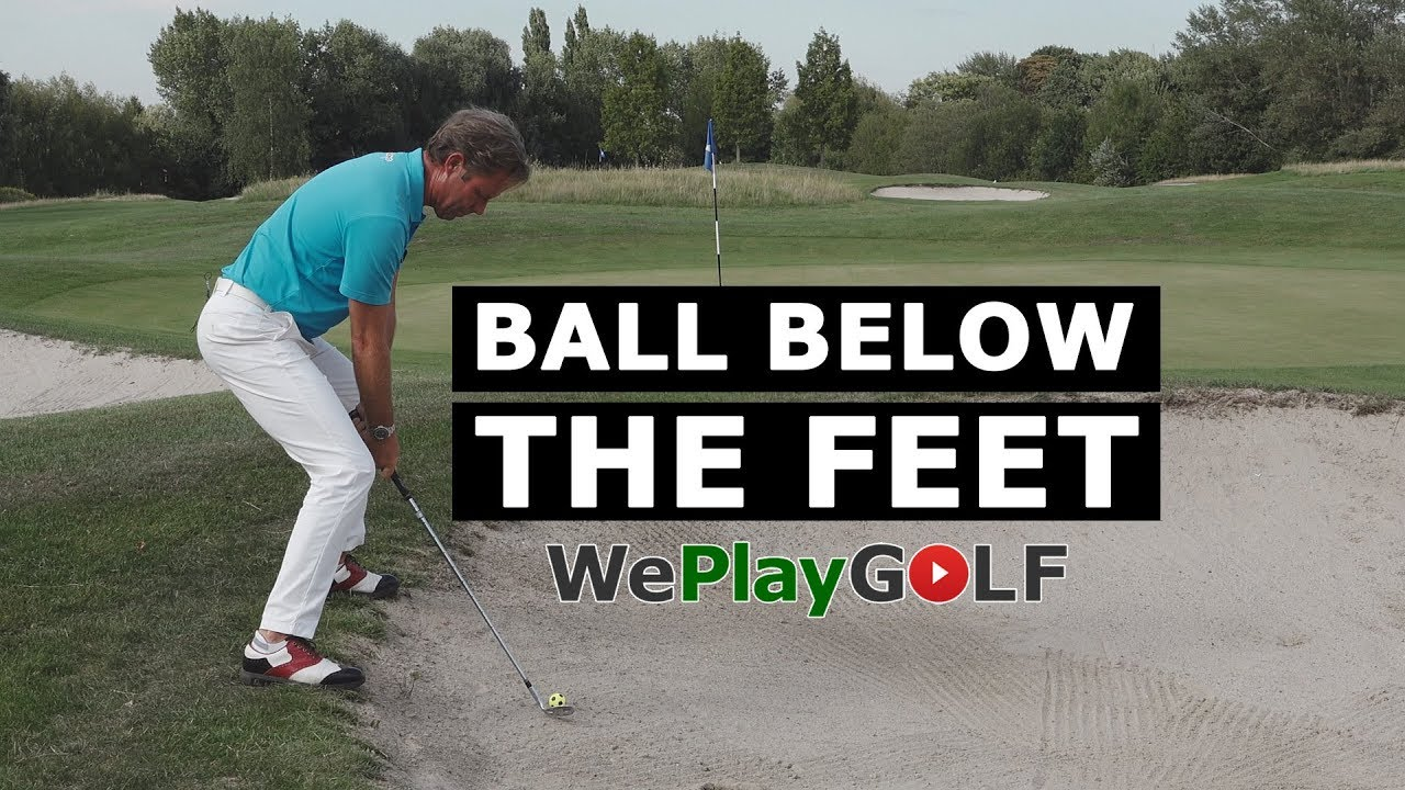 How to play a bunker shot with the ball below the feet?