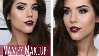 Vampy Makeup Tutorial | Winged Eye Liner, Brown Eyes&Vampy Lips