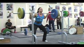 Daily Training 1-22-13 - Weightlifting training footage of Catalyst weightlifters. Brian clean and jerk, Jessica clean + jerk, Alyssa back squat, Tamara pause back squat, Jolie block clean, Aimee block power clean, Zack front squat.