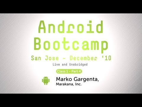 Android Videos - Class 1, Part 4. In this 2-hour tutorial Marko will build an Android app from scratch in-order to illustrate some of the key concepts for Android UI developm...