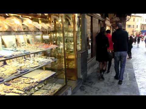 Florence Italy - Window Shopping for gold, at Ponte Vecchio