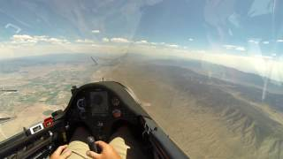 Here is my flight from the 3rd official race day for the 2016 USA Gliding Nationals held at Nephi, Utah in June.  65 glider pilots from all over the country (and world) came to have two weeks of amazing soaring in central Utah. I am flying an asw27b glider and the video camera is a GoPro Hero3. I hope you enjoy the video.  Bruno - B4