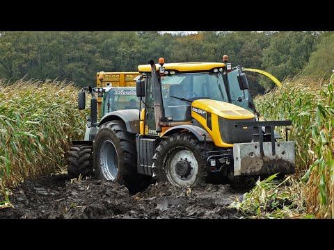John Deere 6850 | JCB Fastrac 8250 Vario | Modderen in de mais voor Kroes | Hardenberg | NL | 2013.