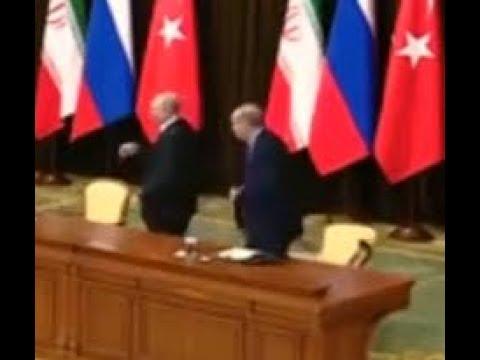 Путин уронил стул Эрдогана. Путин выхватил стул и уронил его. (видео)