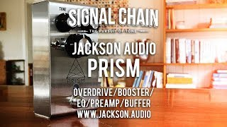 """https://signalchain.com.au/products/prismhttp://jackson.audio/prism/The Prism is an ingenious hybrid of buffer, overdrive, boost/EQ and preamp. It's built with a stainless steel case so it's unlikely to ever break. It features three boost 'voices' that span some 50 years of rock 'n' roll: treble booster, jfet (tube amp-like) and mosfet (full-range transparent boost). Each one of these voices is a discrete circuit. There are two active +/- 15Db tone controls - tone and body. Each of these works completely independent of the other. Each boost voice has three pre-gain controls - low, medium and high. All of these sound pretty darned amazing. In fact, I will go so far as to say that at the current time of writing, the Prism is the best all-round booster on the market. A modern day classic, as it were. Great work fellas!Special thanks to Rodger van Raalte, Brad Jackson, Carole Johnston, Ian Wright and James Laney.Today's tools:Guitar: 2016 Ernie Ball Music Man Albert Lee HH (stock).Amp: Laney VH100R head and Laney Lionheart 2x12 Greenback loaded cabinet.Extra effects: Reverb - ampCables: Goodwood Audio and ProvidencePower Supply: Voodoo Lab MONDOMic: sE V3 Dynamic and VR1 (https://www.seelectronics.com) (Vibrolux);  Samson Airline77 (me)Camera: Canon 60D (me) and Nikon D5100 (pedal)Soundcard: AVID Mbox Pro 3 (for recording) & Fractal Audio Systems Axe-FX II XL+ (mixing and bouncing).Computer: Apple iMac 27"""" i7 3.4 GHz 16 GB RAMSoftware: Logic Pro X, Waves L3-16 Limiter (to keep levels in check at output), Apple Final Cut Pro X (video editing and Youtube compression)."""