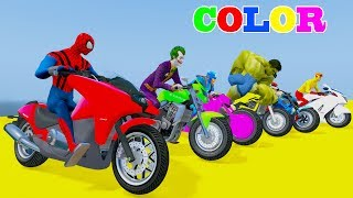 Learn COLORS Motobike Extreme Down Hill w Superheroes Songs Nursery Rhymes For ChildrenWelcome to Car And Friends Channel. Video Learn Color & Number For KidsThis Channel is about cartoon characters as Spiderman, Hulk, Elsa...with music as finger family, nursery rhymes For Children!Thank For Watch!Playlist :Collection Learn Numbers Video For Kids With Spiderman Cars  : https://www.youtube.com/watch?v=LGEMBndDVZs&list=PLeiK9SGD5dcyj_n1Hp0Z4Yx6mc3jPrnOjCollection Learn Colors For Kids With Spiderman Cars Cartoon :https://www.youtube.com/watch?v=LGEMBndDVZs&list=PLeiK9SGD5dczlFB53UXxxW4RDKgKE1vc-Learn Colors Cars with Spiderman Nursery Rhymes  : https://www.youtube.com/watch?v=LGEMBndDVZs&list=PLeiK9SGD5dcwwwtCHLWgk0Unc5DTjEhfbLearn Number Cars And Trucks W Spiderman Cars Cartoon : https://www.youtube.com/watch?v=LGEMBndDVZs&list=PLeiK9SGD5dcxCq5t6fbAHtUaPjIRqSMFy