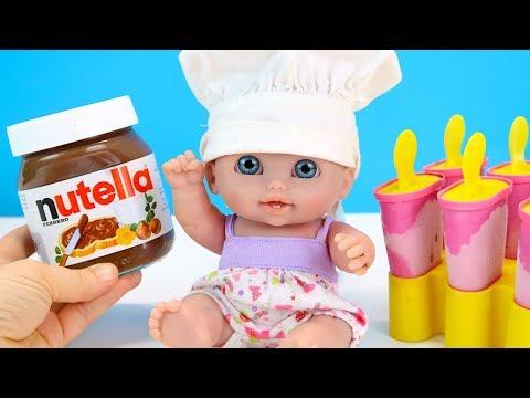 МОРОЖЕНОЕ ИЗ НУТЕЛЛЫ Куклы Пупсики Играем Как Мама Рецепты Для детей 108мама тв