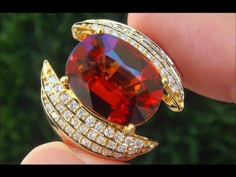 GIA Certified Natural VVS Spessartine Garnet Diamond 18k Yellow Gold Estate Ring - C860