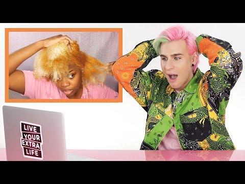 HAIRDRESSER REACTS TO NATURAL HAIR BLEACH FAIL!