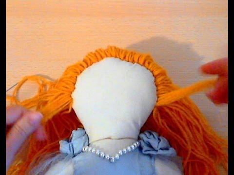 Как сделать волосы из ниток для куклы из колготок