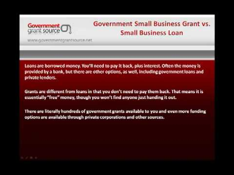 Government Small Business Grant verses Small Business Loan