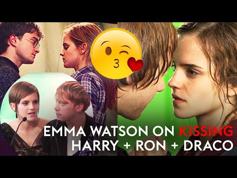 costars - Emma Watson talks about filming kissing scenes with co-stars, and childhood friends, Daniel Radcliffe and Rupert Grint, and also alludes to a schoolgirl crus...