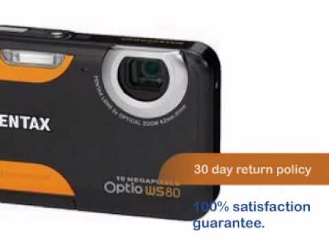 Pentax Optio WS80 10MP Waterproof Digital Camera (Black & Or