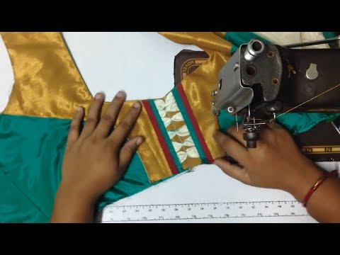 Video How to stitch Model Blouse Back Neck design with cutting on tailoring machine download in MP3, 3GP, MP4, WEBM, AVI, FLV January 2017
