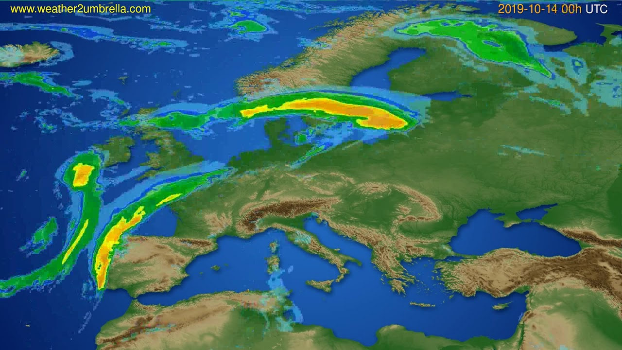 Radar forecast Europe // modelrun: 12h UTC 2019-10-13