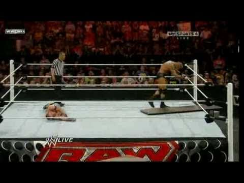 Raw Roulette 09/13/10 - John Cena vs Randy Orton (Tables Match) 1/2