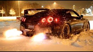 To jest dopiero hardcorowa jazda! Zajebista zabawa Nissanem GTR na śniegu!