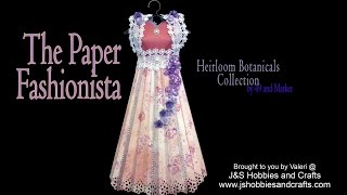 "The Paper Fashionista has arrived! This adorable 3D paper Dress is 14"" tall and made from the 49 and Market Heirloom Botanical Paper Collection. Embellished with Venise Lace, Flat Back Fancy Pearls, and adorned with handmade Classic Paper Roses.  There's even a FREE Pattern you can download when you watch the video to find the link. And wait... this isn't the only beauty , there will be others in your future as well. So stay tuned and you won' be disappointed. Products for this project can be purchased at www.jshobbiesandcrafts.com.Products used:• 49 and Market Heirloom Botanicals Paper Collection• Tyvec Paper • Tim Holtz Display Hangers• Heartfelt Creations Classic Rose Die & Stamp• Martha Stewart Flower Bed Paper Punch• Flat Back Pearls Fancy 1/4~ and 3/8~• Venise Lace 1 7/8~ White• Kaisercraft Mini Blloms • Bling Single Strand Silver• Stickles Silver• Scor-Tape• Art Glitter Glue• Metal Glue Tip"