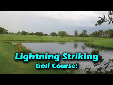 Lightning striking golf course