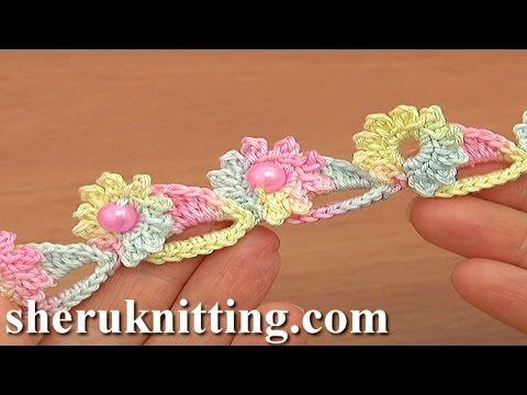 uncinetto - bracciale a fiori multicolor