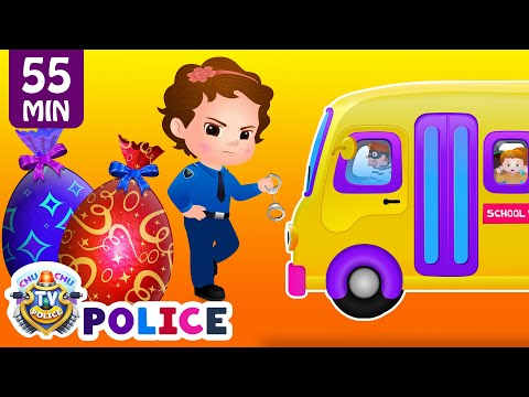 ChuChu TV Police Save School Children from Bad Guys in the School Van | ChuChu TV Surprise Eggs Toys