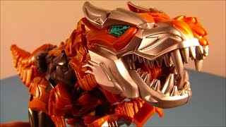 TRANSFORMERS 4 FLIP And CHANGE GRIMLOCK AGE OF EXTINCTION MOVIE TOY VIDEO REVIEW