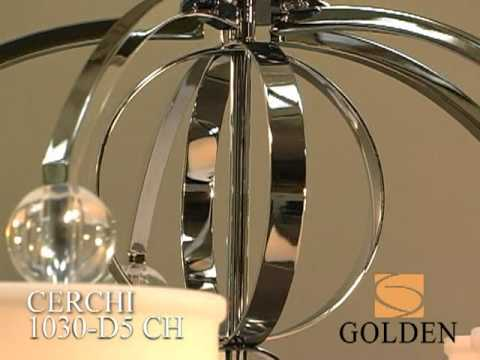 Video for Cerchi Chrome Six-Light Chandelier with Etched Opal Glass