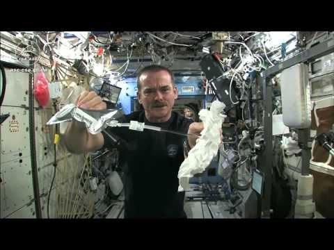 Wet - International Space Station commander Chris Hadfield soaks a washcloth, gives it a twist, and...well, you'll see.