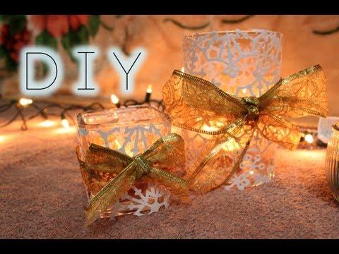 portacandele natalizio con i fiocchi di neve