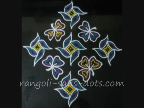 Margazhi kolam - 13 to 1 dot