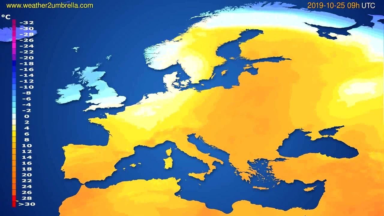 Temperature forecast Europe // modelrun: 12h UTC 2019-10-23